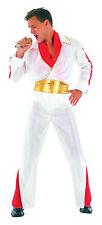 Para Hombre Blanco Elvis personificador Fancy Dress Costume Estrella De La Música Rock N Roll Outfit