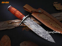 """Handmade Damascus Steel Dagger 12.0"""" Hunting Knife with Rose Wood Handle"""