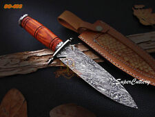 "12"" Super Cutlery Custom Handmade Damascus Dagger Knife Rose Wood Handle *ORDER"