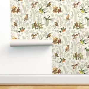 Removable Water-Activated Wallpaper Vintage Flowers Nature Birds Woodland Garden
