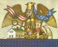 Charles Wysocki Signed Art Print American Eagle, Uncle Sam, Liberty 8 x 10