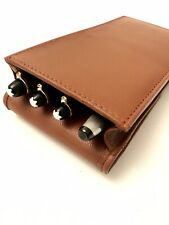 Tan Leather Triple/Quadruple Magnetic Pen Case/Pouch Real Leather