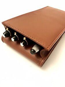 Tan Leather Triple/Quadruple Magnetic Pen Case/Pouch Real Leather