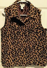Cold Water Creek Womens Leopard Vest- Small Chest 40""