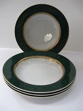 IMPERIAL RETRONEU COLLECTION MALACHITE 488 SOUP BOWLS, SET of 4, GOLD ACCENTS