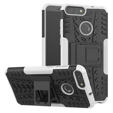 Heavy Duty  ShockProof Kickstand Case Builder Cover for Huawei P Smart (White)