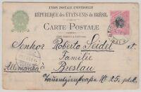 24673) Brasilien RIO DE JANEIRO 1899 Postkarte nach Breslau Schlesien