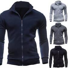 Mens Zip Up Hoodie Zipper Sweatshirt Hoody Plain Fleece Hooded Top Winter Warm