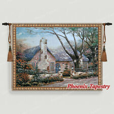 Cottage Tapestry Wall Hanging Jacquard Weave Large Gobelin Aubusson 100% Cotton
