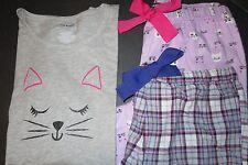 Joe Boxer women pajama set - 3pc M sz lilac kittens NWT