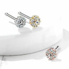 3 Pc Pack Flower Tiered CZ Surgical Steel Nose Bone Stud Ring Piercing 20g