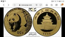 2002 1/10 oz Gold Panda low letters. PCGS MS70 Gold shield. Pop 5. Rarity !