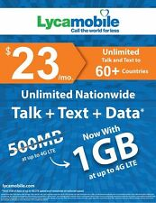 LycaMobile Prepaid SIM Card $23 Unlimited Talk Text & Data Lyca 60 Countries