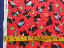 Christmas Scotty Dogs on Red Cotton Fabric By The Yard Andrea Tachiero