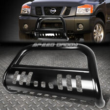FOR 04-15 NISSAN TITAN/ARMADA MATTE BLACK BULL BAR PUSH BUMPER GRILLE GUARD+SKID
