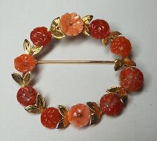 & Red Coral Antique Brooch Vintage Estate Sale 14Kt Genuine Pink