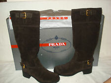 100% AUTHENTIC NEW WOMEN PRADA SUEDE BROWN DUAL BUCKLE BOOTS US 5