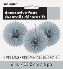 3 x Pretty Silver paper fans hanging decorations Christmas New Year Decorations