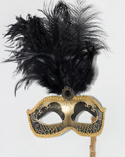 BLACK & GOLD FEATHER MASK & STICK VENETIAN CARNIVAL MASQUERADE PARTY MASK BNWT