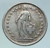 1921 SWITZERLAND -  HELVETIA Symbolizes SWISS Nation SILVER 2 Francs Coin i86361
