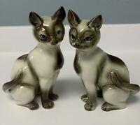 Vintage Pair(2) Sitting Siamese Cat Porcelain Figurines Mid-Century Modern Japan