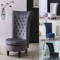 Retro High Back Armless Chair Living Room Upholstered Tufted Royal Accent Seat