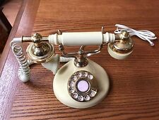 VINTAGE Majestic Electric FRENCH Style TELEPHONE Phone~IVORY & GOLD Rotary Dial