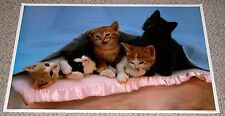 SLUMBER PARTY Kittens Under A Blanket Cat Poster 1983 AA Graphics PC-876