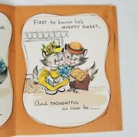 Vintage Anthropomorphic Cats Greeting Card Booklet Anniversary Mid Century USA