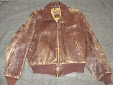 HORSEHIDE BROWN LEATHER FLIGHT STYLE JACKET BY KNOPF SPORTSWEAR 1950s SIZE 40