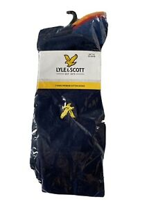 Lyle & Scott Kennedy Socks 3 Pack Navy Blue & Coloured Size 7-11 Peacoat Range
