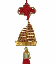 Feng Shui Chinese Golden Metal Sailing Boat Charm
