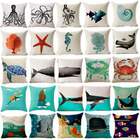 "18"" Sea animals Cotton Linen Pillow Case Sofa Cushion Cover Fashion Home Decor"