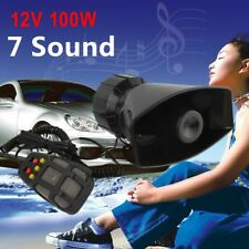 300db 100W 12V Loud Horn Car Van Truck 7 Sound Tone Speaker With PA System Mic