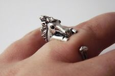 Cute Vintage Style Silver Adjustable Horse Animal Wrap Ring Nickel Free