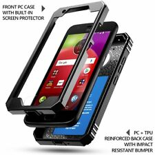 For Moto E 4th Generation Case [360° Protective] Premium Shockproof Cover Black