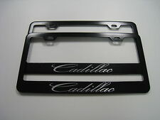 "2 Brand New ""CADILLAC"" BLACK Metal License Plate Frame Front&Rear"