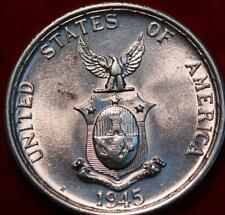 Uncirculated 1945 Philippines 50 Centavos Silver Foreign Coin