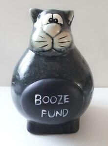 "Large ""Booze Fund""  Comical Cat Money box, NEW"