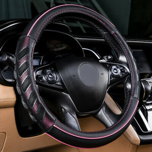 """Car Steering Wheel Cover Leather Universal 38cm Pink 15"""" Auto Accessories Girls"""