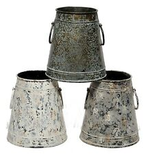 "Cream Gray Blue Rustic Metal Container Vase Pot Set/3 Farm Garden Home 5.25"" NEW"