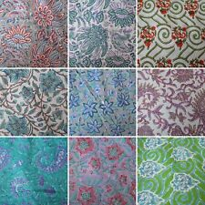 Natural Printed Cotton Fabric Indian Hand Block Print Handmade Sanganeri Vintage
