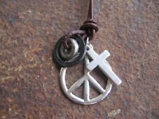 PEACE NECKLACE PENDANT hippie surfer style leather Ring Cross Brown New Necklace