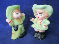 Cowgirl Holding Up Cowboy Vintage Japan Salt Pepper Shakers Cork Stoppers Used