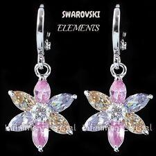Bijou femmes boucles d'oreilles ornées de swarvoski Elements FLEUR multicolores