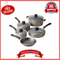 Aluminum 9-Piece Pots And Pans Nonstick Champagne Cookware Set, Kitchen & Dining