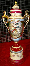 "Antique Royal Vienna Mythological Scene Hand Painted Lidded Urn/Vase 18.5"" Tall"