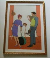 LISTED SIGNED RARE  PAINTING PRETTY MID CENTURY FEMALE WOMAN MODEL PORTRAIT MOD