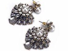 FASHION Grigio Grigio Crystal Pearl Diamante dichiarazione Gioielli Orecchini Da Sposa Regno Unito