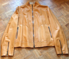 Brunello Cucinelli tan skin leather jacket bomber coat made in Italy XL pristine